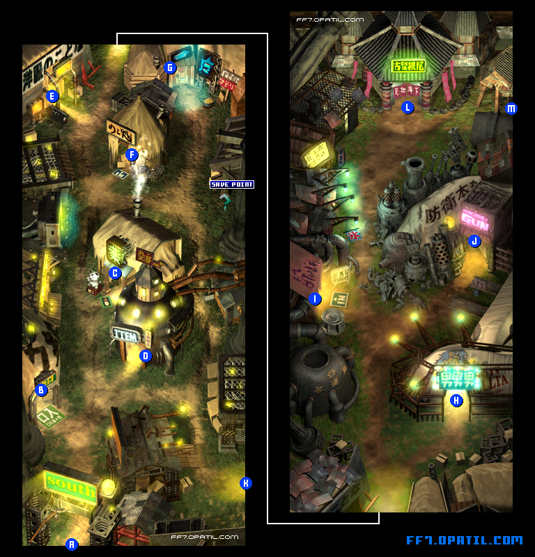 Wall Market Map Ff7 All Location Maps Ff7 Walkthrough And Strategy Guide Final Fantasy Vii Ff7 攻略